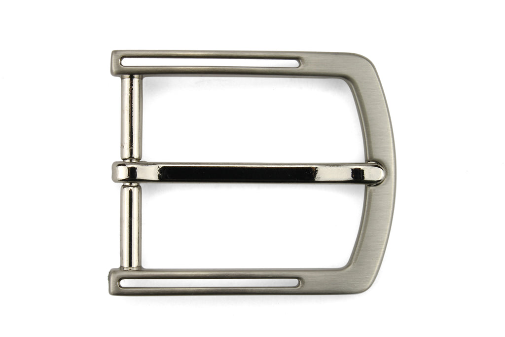 Satin Silver Cut Out Prong Buckle 35mm