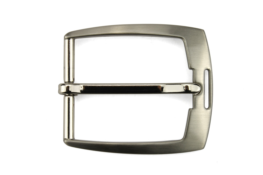 Satin Silver Flared Cut Out Prong Buckle 35mm