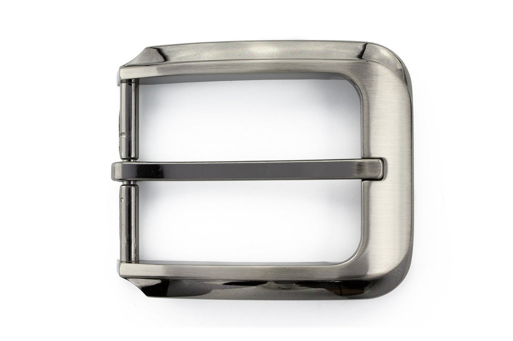 Satin silver contemporary prong buckle 35mm