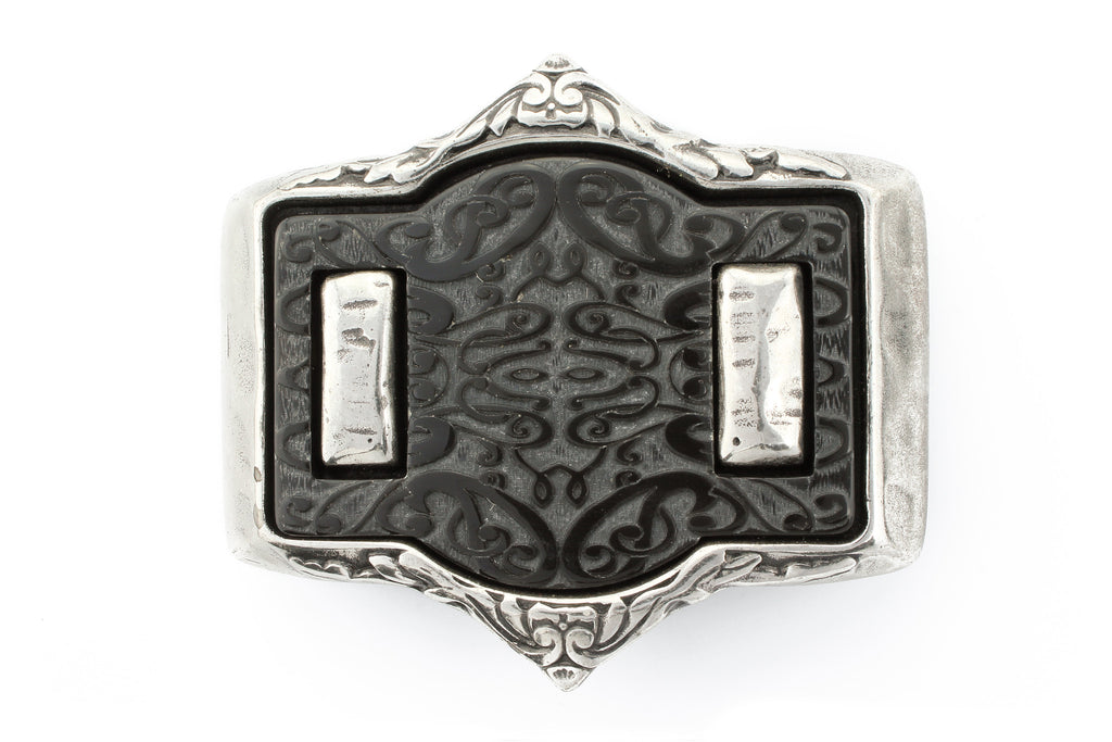 Laser cut genuine black horn buckle 40mm