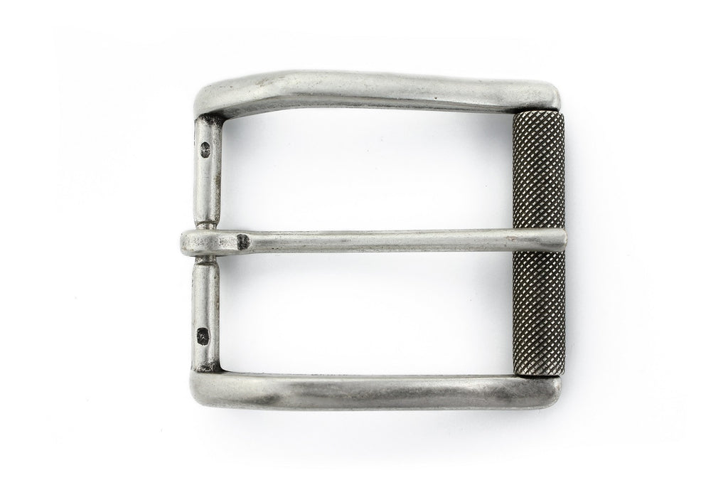Aged silver roller buckle 40mm