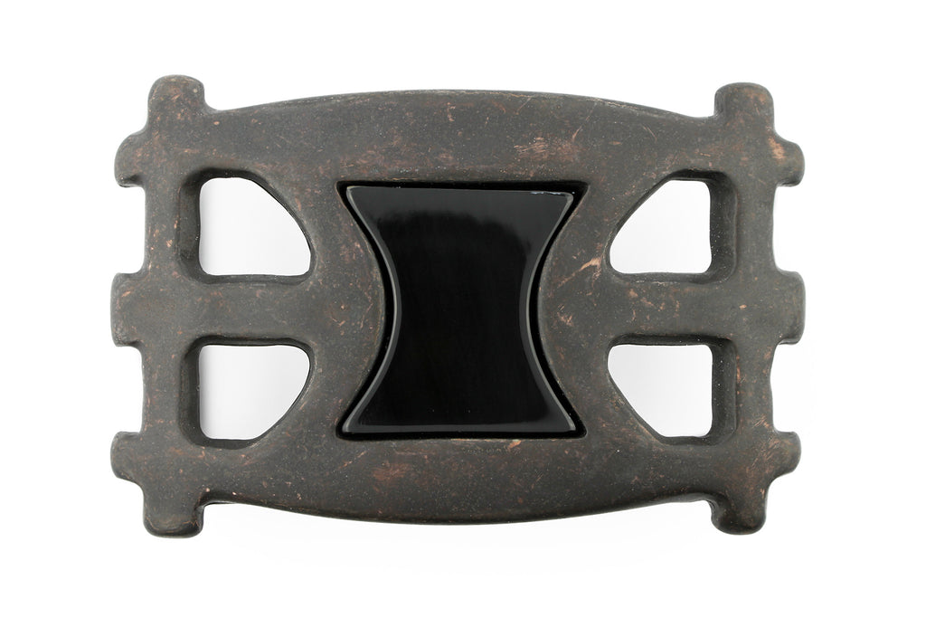 Sculptural rust finish horn insert buckle 40mm