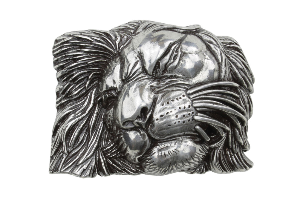 Aged Silver Lion Face Buckle 40mm