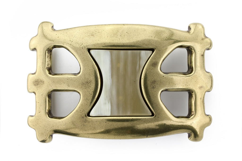 Sculptural aged gold horn insert buckle 40mm