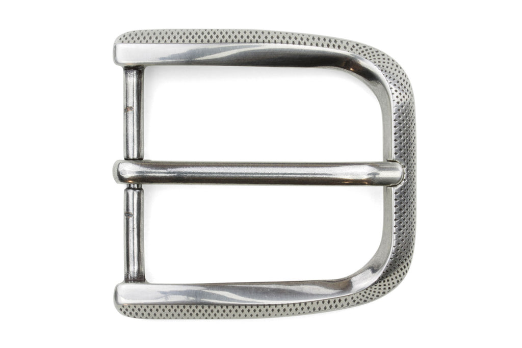 Silver Fluted Dimple Prong Buckle 40mm