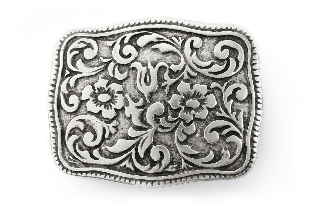 Aged silver western style plate buckle 40mm