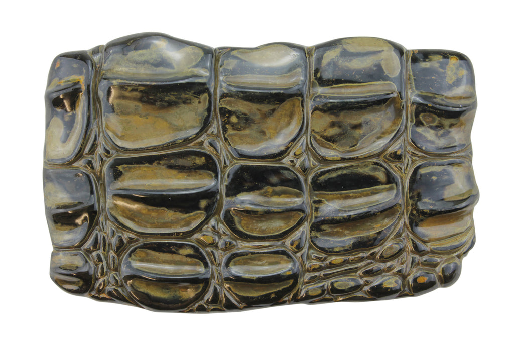 Oxidized Gunmetal Caiman Plate Buckle 40mm