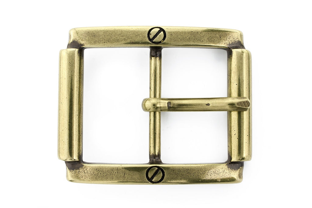 Aged gold screw detail buckle 40mm