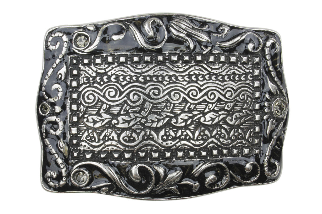 Silver and Black Enamel Filagree Plate Buckle 40mm