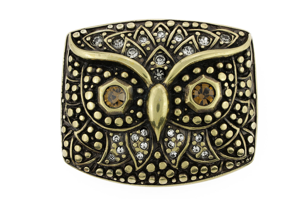 Aged gold crystal owl buckle 40mm