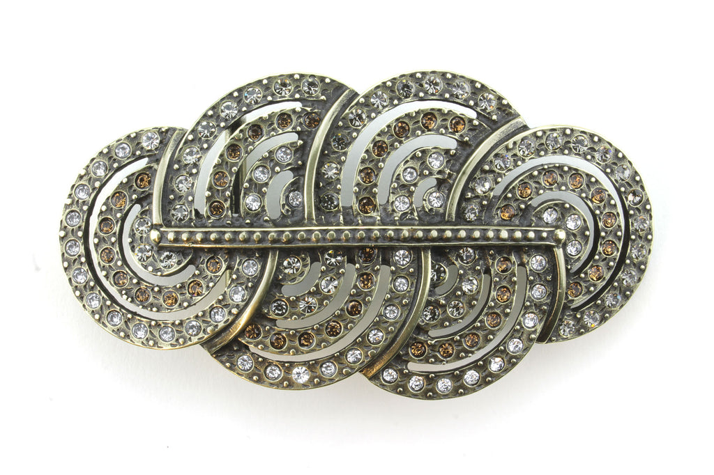 Art Deco Aged Gold Topaz/Clear Crystal Mix Cloud Buckle 40mm