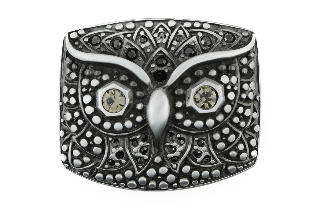 Satin black crystal owl buckle 40mm