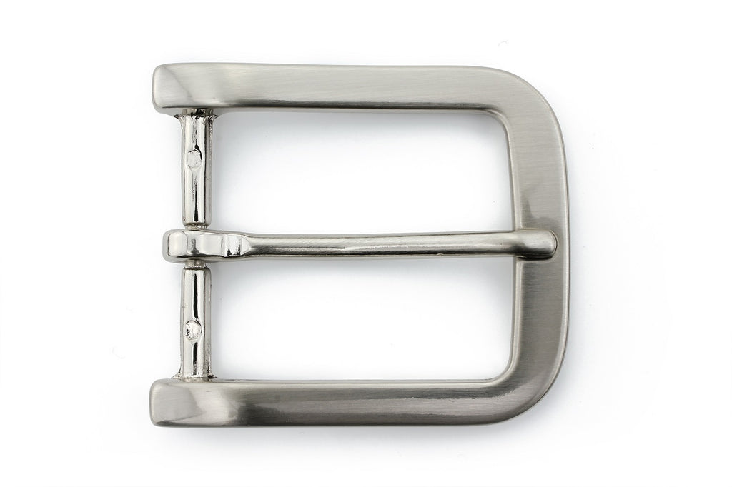 Satin silver smooth rectangle buckle 40mm