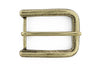 Aged brass rounded rectangular feather etch buckle 40mm