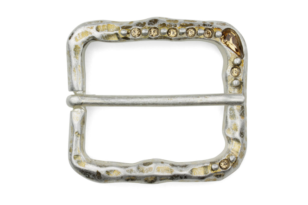 Bleached Gold with Topaz Crystal Mottled Prong Buckle 40mm