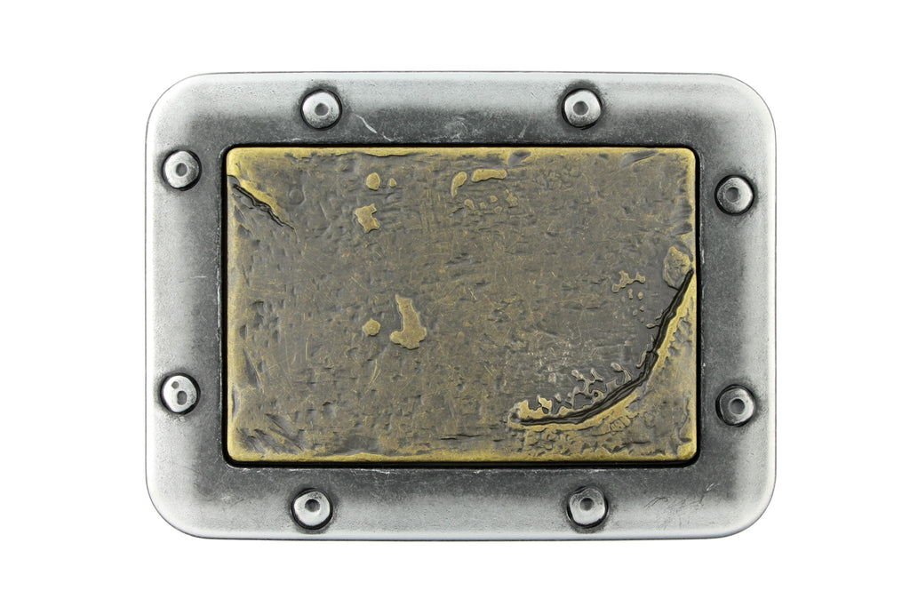 Antique silver and brass rivet plate buckle 40mm