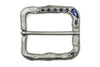 Satin Silver with Sapphire Crystal Mottled Prong Buckle 40mm