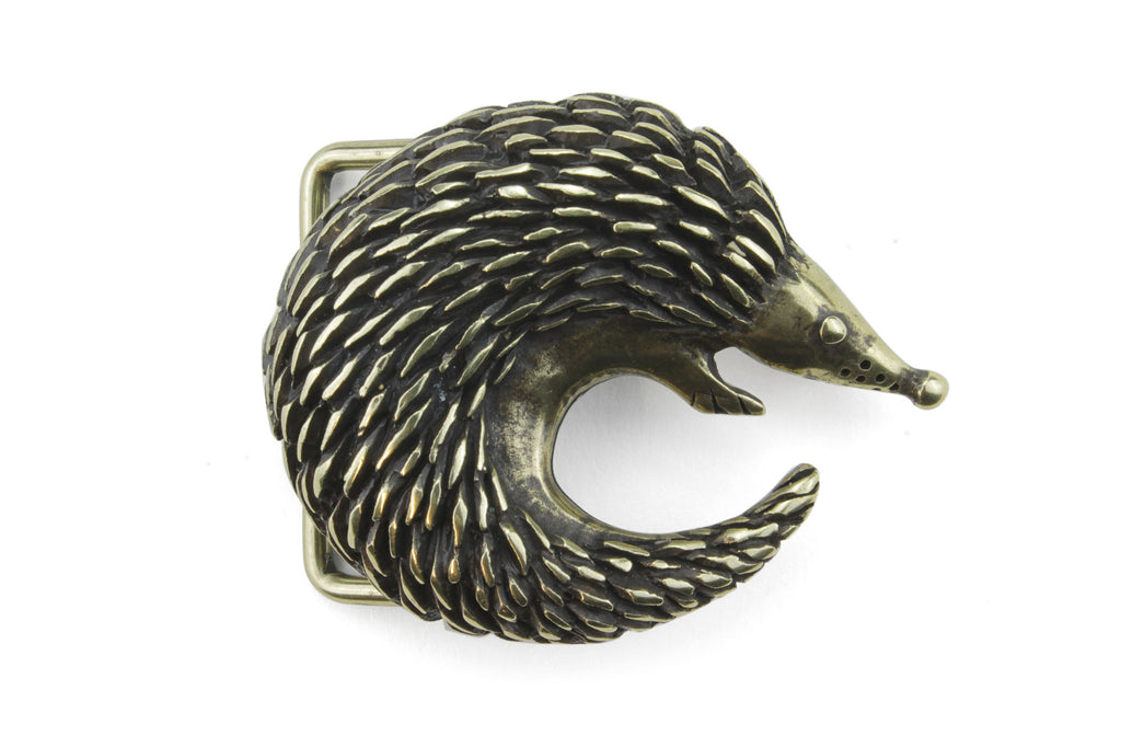 Aged Gold Curled Hedgehog Buckle 40mm