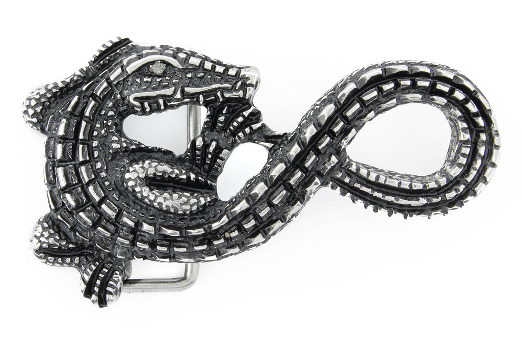 Swirly aged silver crocodile buckle 40mm