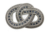 Aged Silver Sapphire Crystal Knot Buckle 40mm