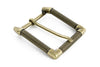 Rectangular gold wire edge classic prong buckle 40mm