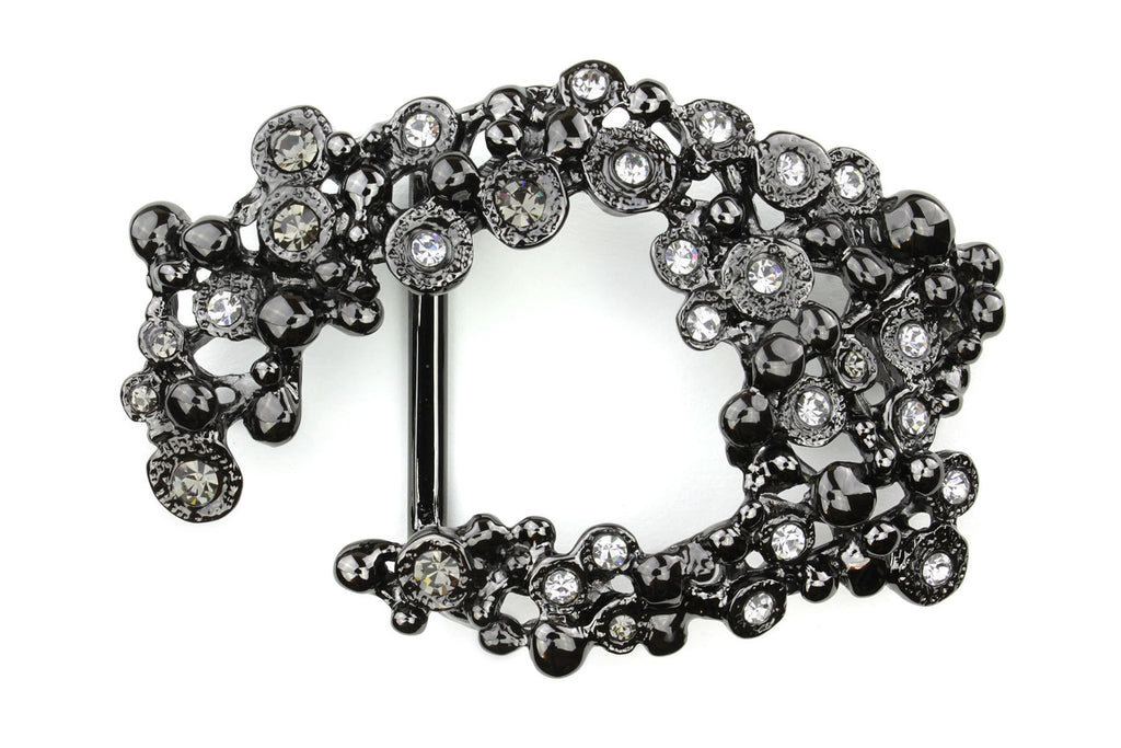 Gunmetal Crescent Crystal Buckle 40mm