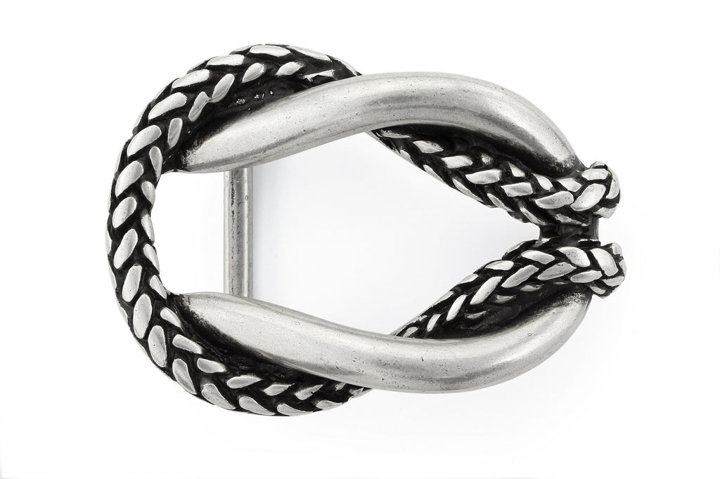 Aged silver rope oval buckle 40mm