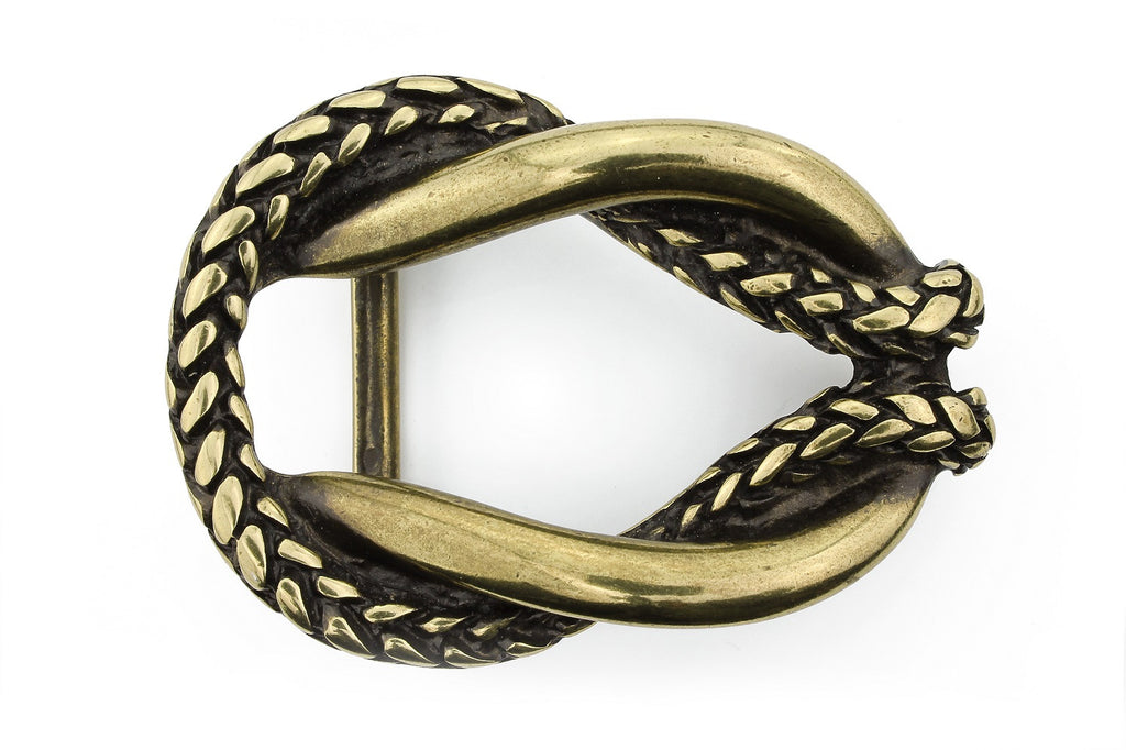 Antique gold rope oval buckle 40mm