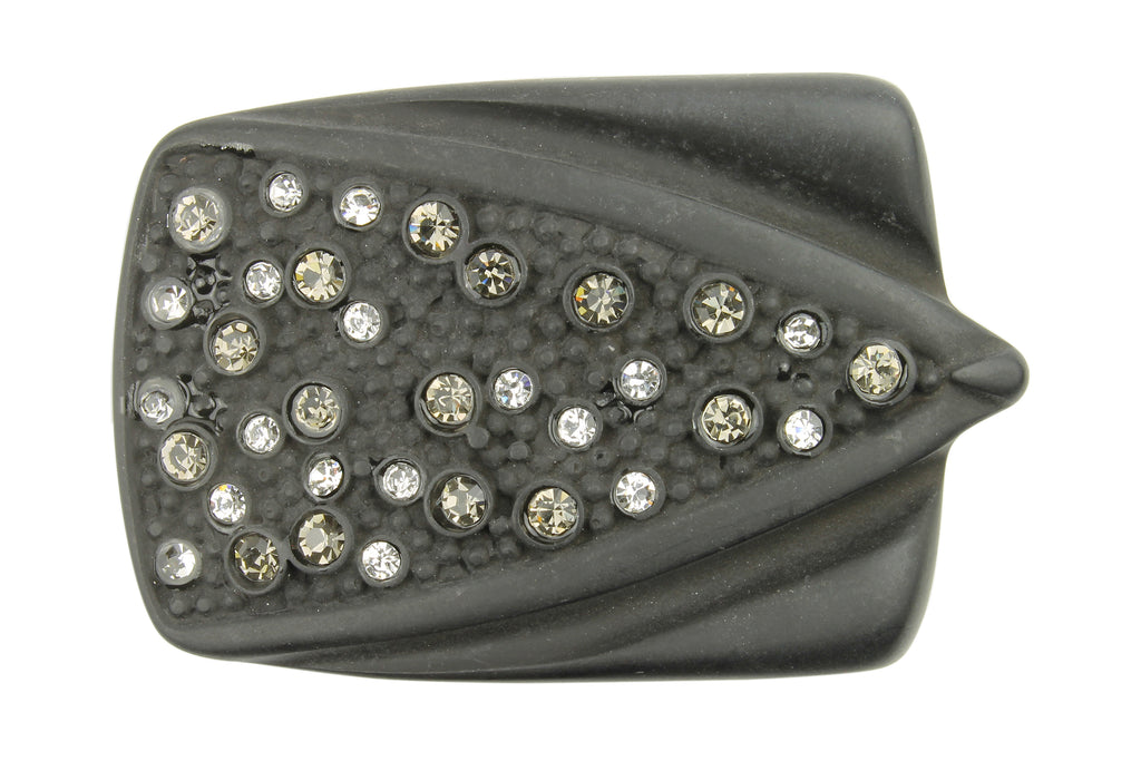 Matte Gunmetal Effect Arrowhead Crystal Buckle 40mm