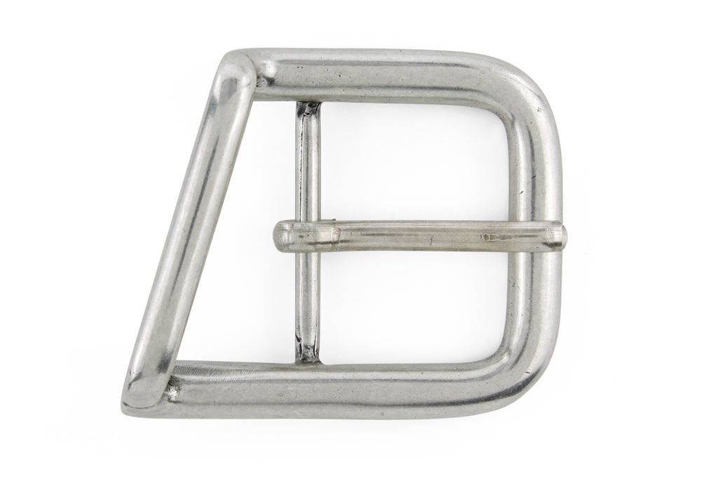 Angled aged silver equestrian style centre prong buckle 40mm