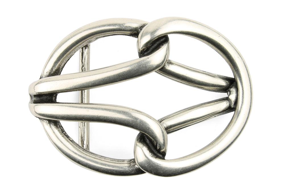 Aged Silver Tubular Reef Knot Buckle 40mm