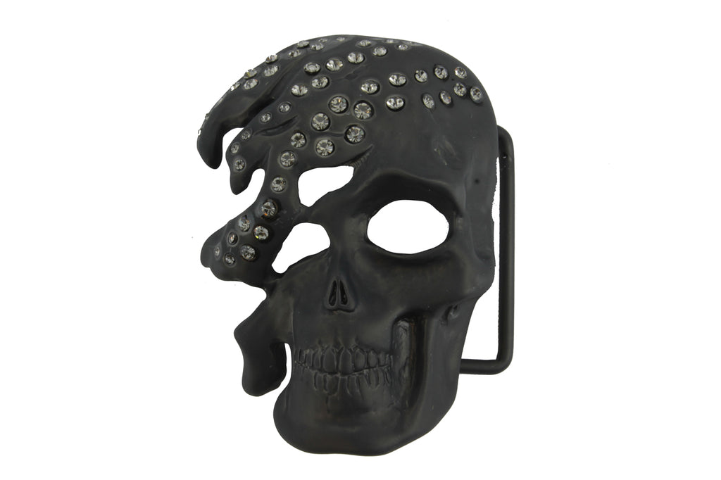 Matte Gunmetal Crystal Encrusted Skull Buckle 40mm