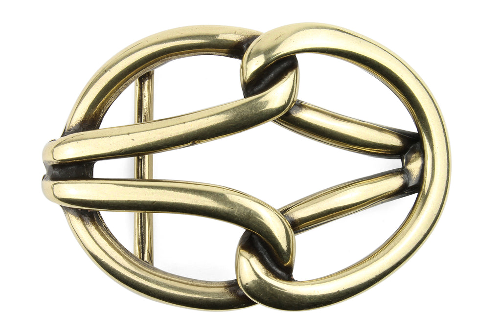 Aged Gold Tubular Reef Knot Buckle 40mm