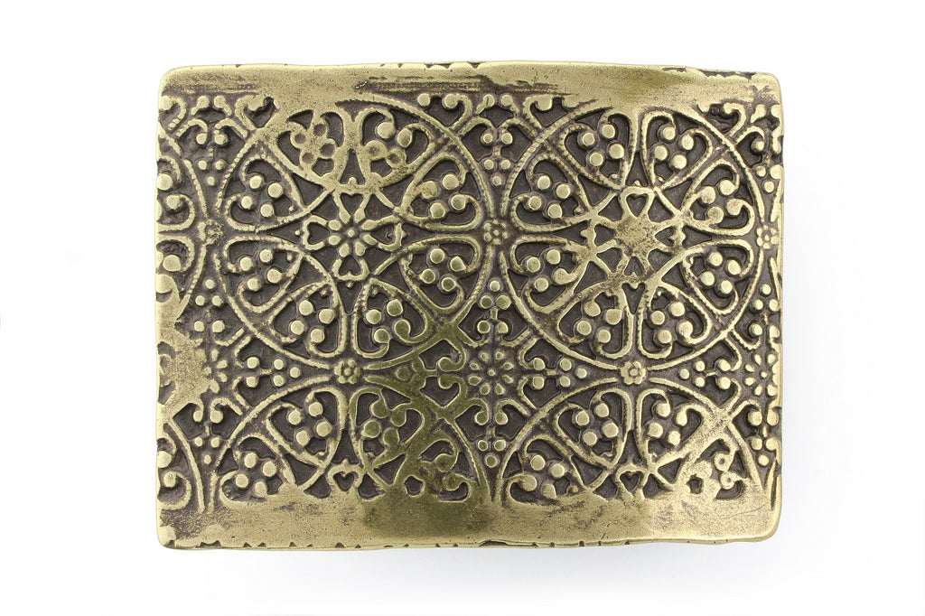 Aged gold etched plate buckle 40mm