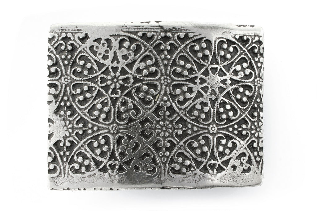 Aged silver etched plate buckle 40mm