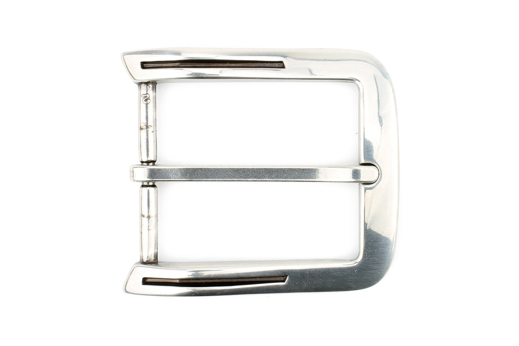 Lined Edge Special Silver Prong Buckle 40mm