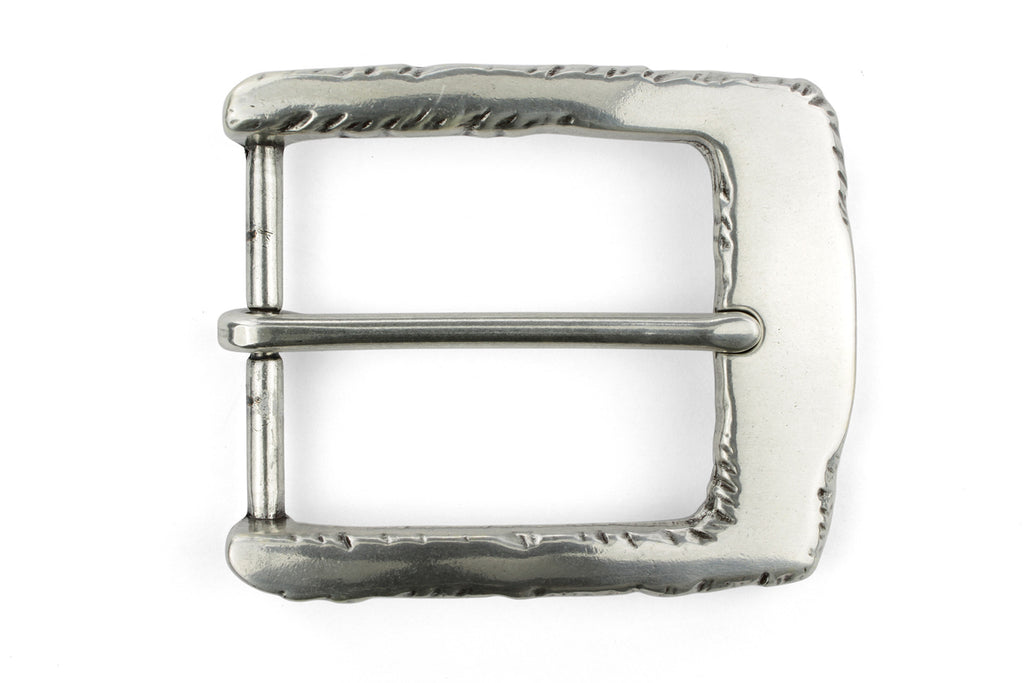 Gnarled edge special silver prong buckle 40mm