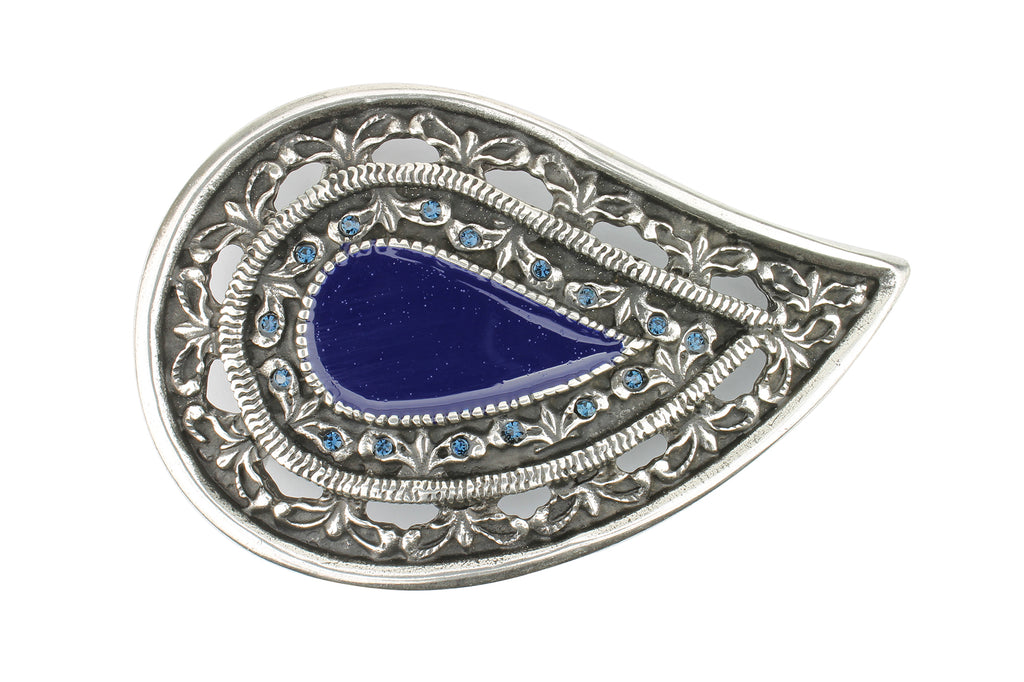 Paisley Enamel Aged Silver Buckle 40mm