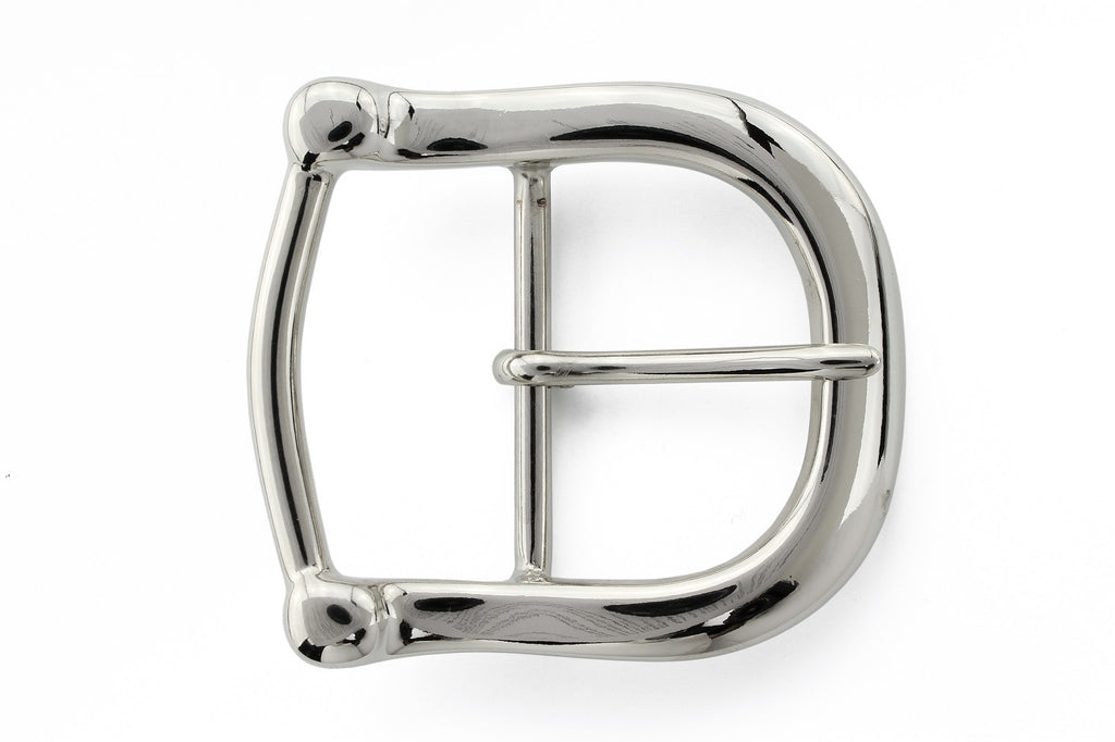 Shiny silver equestrian style prong buckle 40mm