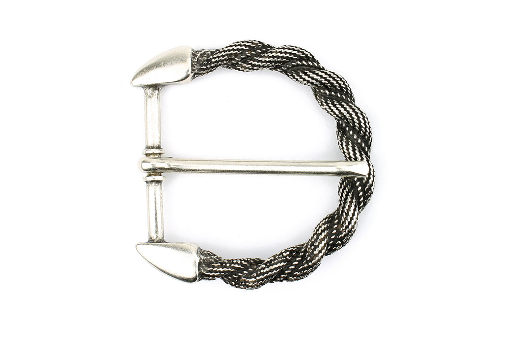 Aged Silver Curved Rope Prong Buckle 40mm