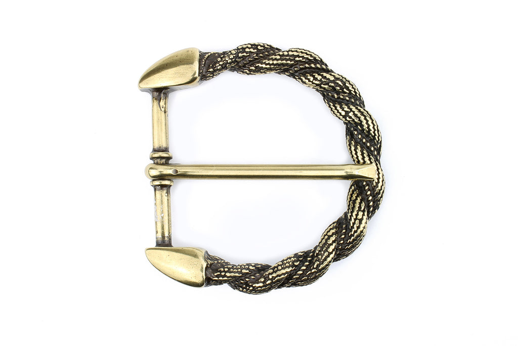 Aged Gold Curved Rope Prong Buckle 40mm