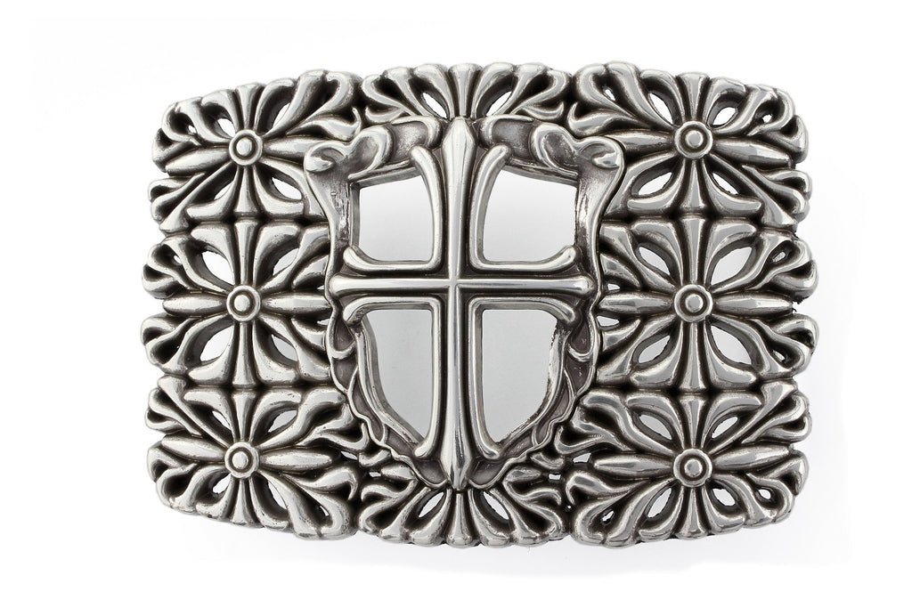 Aged silver lattice cross plate buckle 40mm