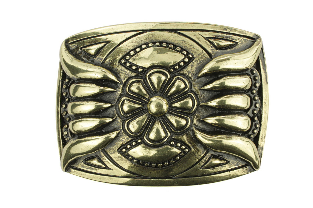 Aged gold Navajo style plate buckle 40mm