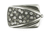 Aged Silver smoked crystal encrusted arrowhead plate buckle 40mm