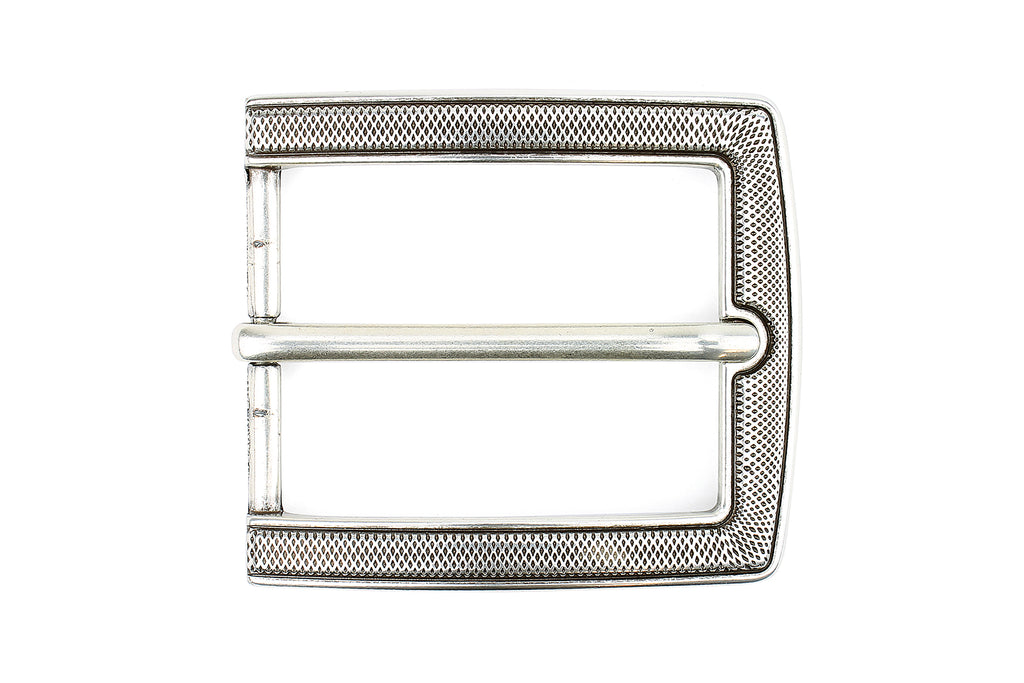 Aged Silver Rectangular Micro Dimple Prong Buckle 40mm