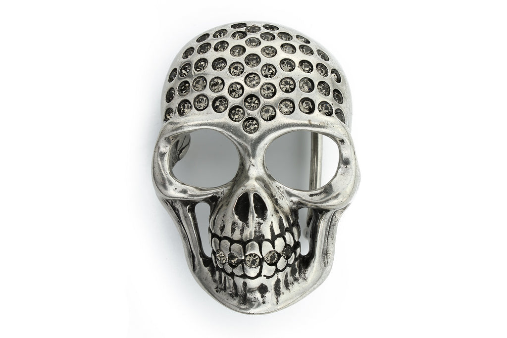 Aged silver crystal skull buckle 40mm
