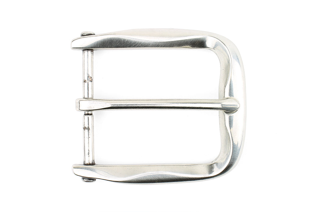 Ribbon Edge Special Silver Prong Style Buckle 40mm