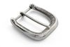 Aged silver lined rectangle prong buckle 40mm