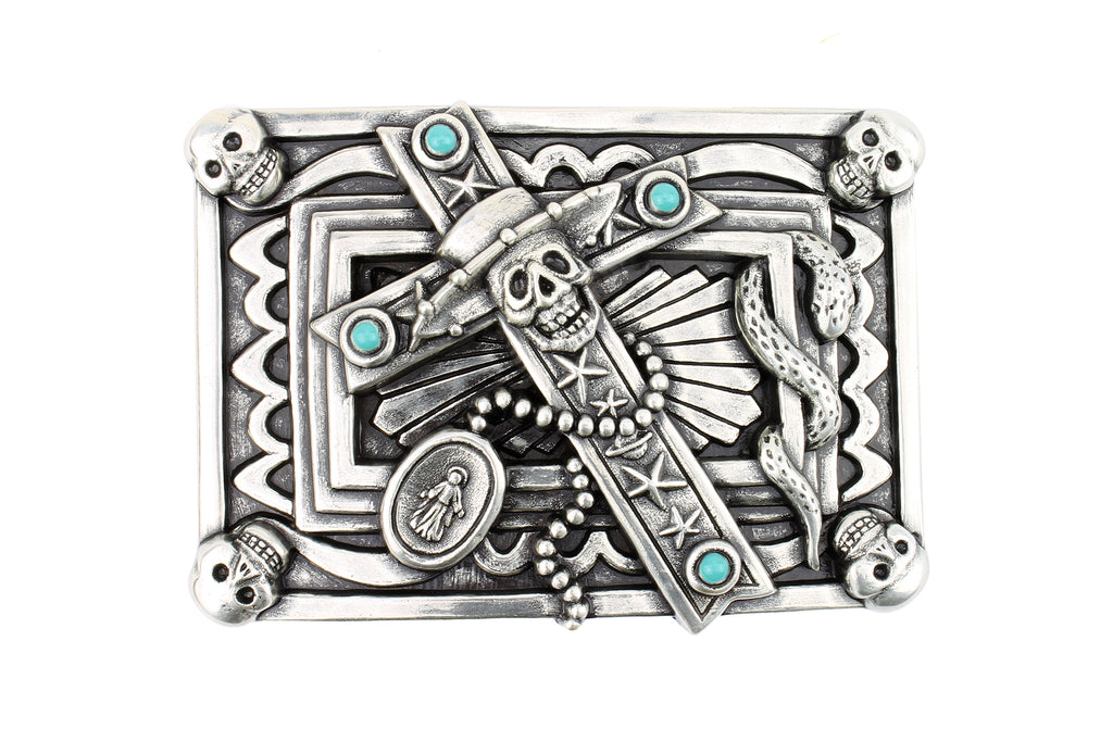 Rectangular Aged Silver Voodoo Buckle 40mm
