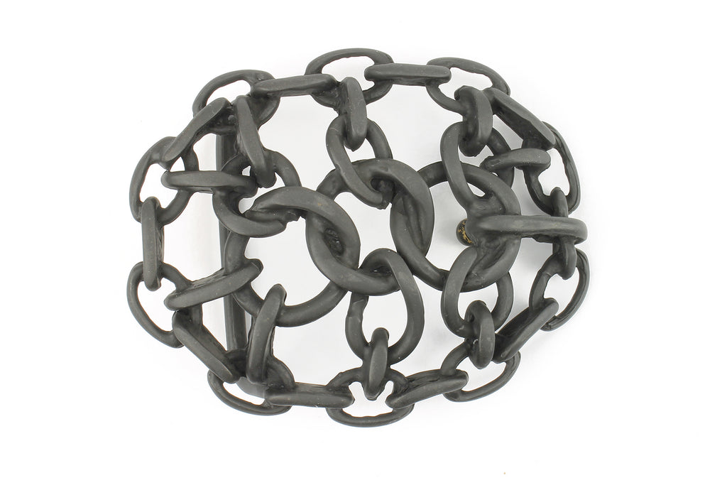 Matte Black Oval Chain Maille Buckle 40mm